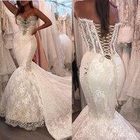 Vintage African Mermaid Wedding Dresses 2019 vestido de noiva Sweetheart Lace Black Women Girls Bridal Dress Custom Gowns