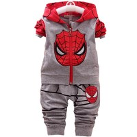 Spiderman Children Boys   Clothing     set   Baby Boy Spider man Sports Suits 1-4 Years Kids 2pcs   Sets   Spring Autumn Clothes Tracksuits
