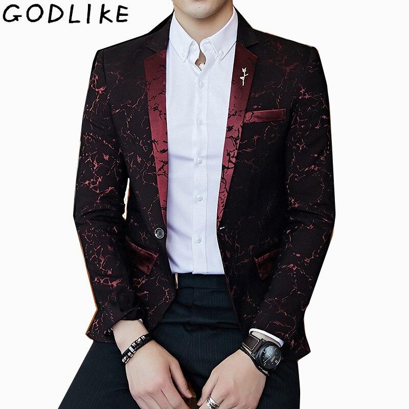 Mens Red Jacquard Stage Costumes Singer Wedding Suit Jacket Male Blazer Designs Jaqueta Masculino Slim Fit Pattern Blazer Coats