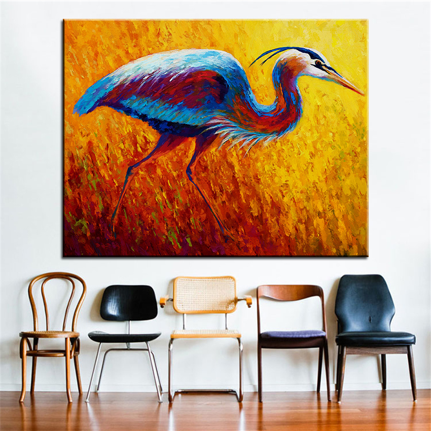 Large size Printing Oil Painting blue heron 2 Wall painting Steampunk Wall  Art Picture For Living