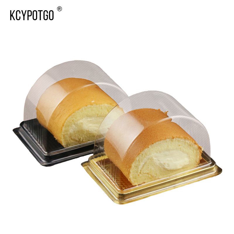 KCYPOTGO 100PCS/lot Disposable Swiss rolls cake box, Semi arched Transparent Baking packaging display box (Gold, black)