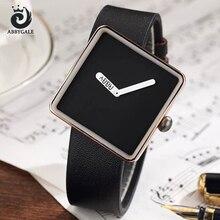 Nueva ABBYGALE Reloj Diseño Simple de Oro Señoras de Las Mujeres de Moda Correa de Cuero Negro Relojes de pulsera de Cuarzo Del Dial Del Cuadrado del Reloj regalos