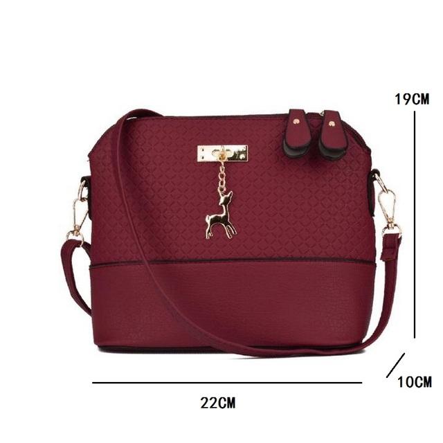 Vintage Retro Women Leather Crossbody Messegner Bag Small Shell Sling Shoulder bag Patchwork Zipper Deer Pendant Handbag Purses