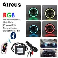 Atreus 1Pair 7 LED Car RGB Headlight DRL Lights 12V High/Low Angel Eye with Bluetooth APP Control For 1997 2014 Jeep Wrangler