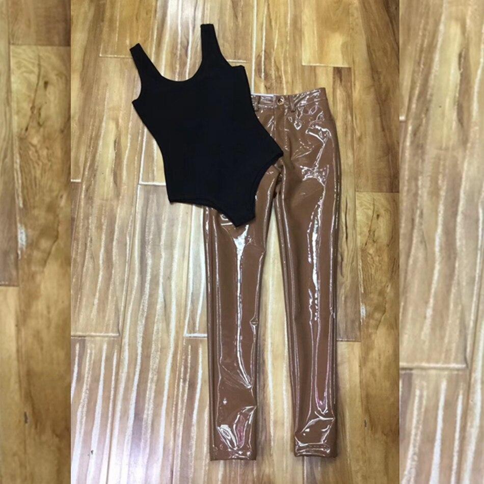 Noir Nouveau Nu 2018 2 Deux De Patchwork Costume Mode Dos Cou Party Club Moulante Blanc Bandage Salopette Brun Pu Sexy Pièces V Femmes zdTTqAw