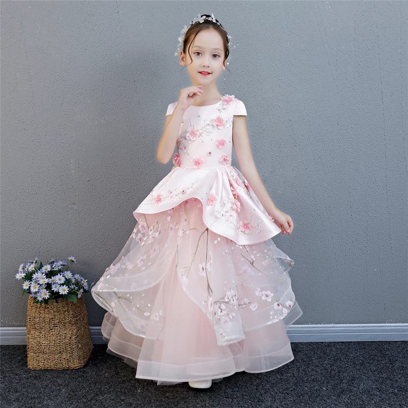 цена 2018 Summer Elegant Children Girls Pink Birthday Wedding Party Appliques Flowers Prom Long Dress Baby Kids Piano Costume Dress