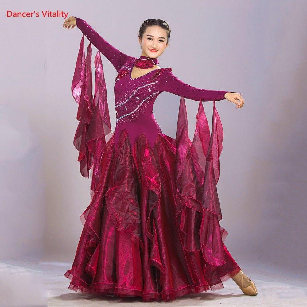 2018 New Ballroom Dance Dress Competition Costumes Luxury Diamond Standard Ballroom Dance Clothing Tango Waltz Performance Dress-in Ballroom from Novelty & Special Use    1
