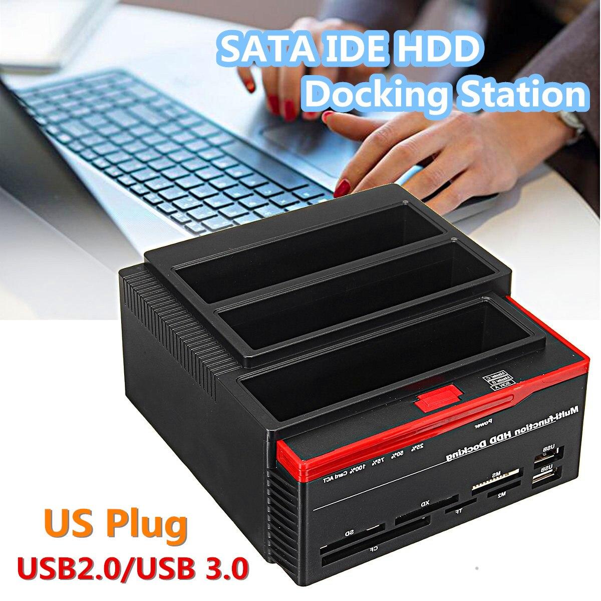 "2.5/""// 3.5/"" inch USB 3.0 to 2 SATA 1 IDE External HDD Hard Drive Docking Station"