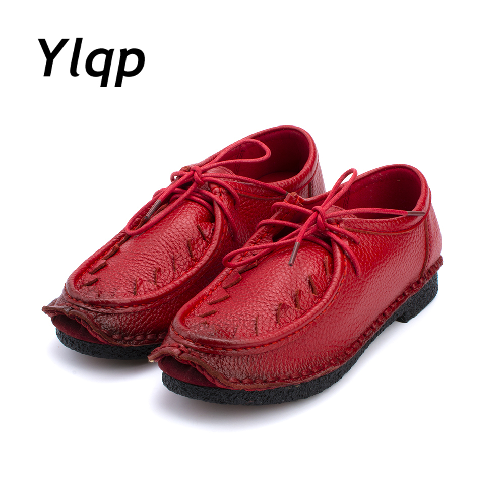 Fashion Women's Handmade Shoes Genuine Leather Flat Lacing Mother Shoes Woman Loafers Soft Comfortable Casual Shoes Women Flats fashion brand genuine leather shoes for women casual mother loafers soft and comfortable oxfords lace up non slip flat moccasins