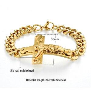 Мужской браслет из нержавеющей стали Jesus Cross, мужские браслеты золотистого цвета, мужские ювелирные изделия оптом