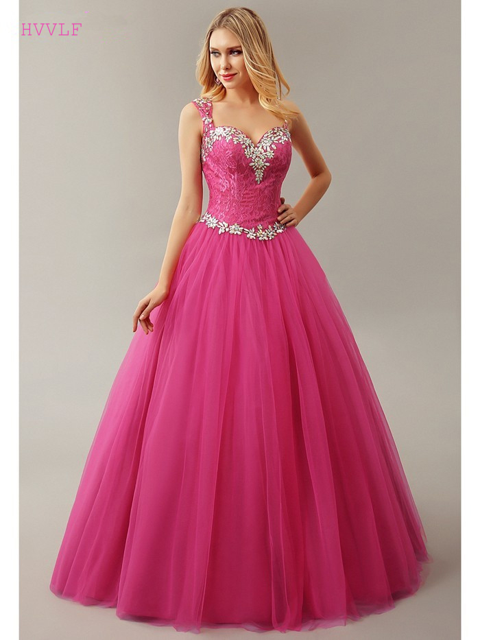 Fuchsia Puffy 2019 Cheap Quinceanera Dresses Ball Gown Sweetheart Tulle Lace Beaded Crystals Sweet 16 Dresses