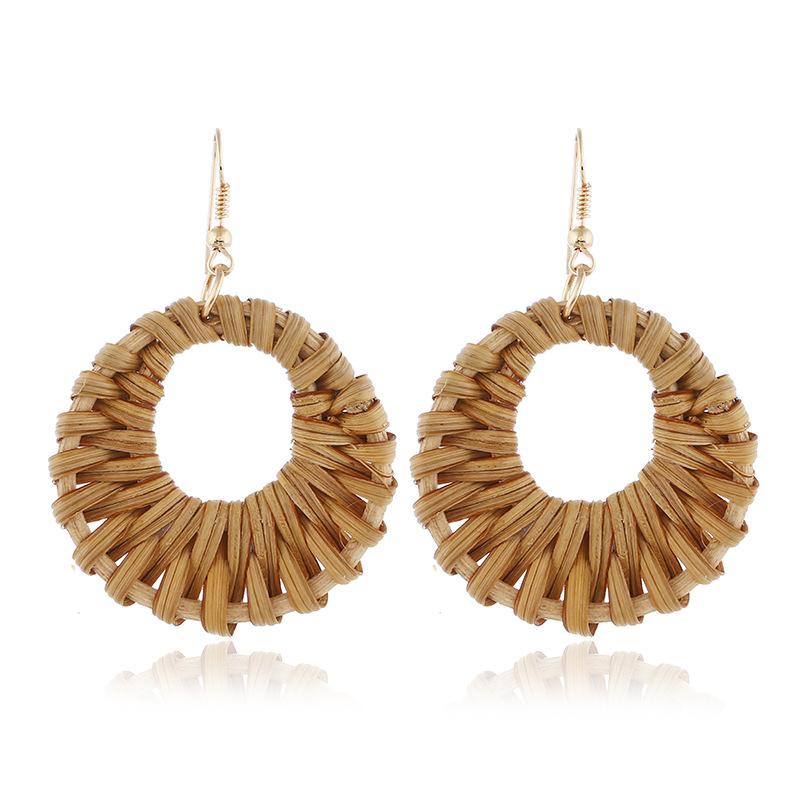 Bohemian Wicker Rattan Knit Pendant Earrings Handmade Wood Vine Weave Geometry Round Statement Long Earrings for Women Jewelry 29