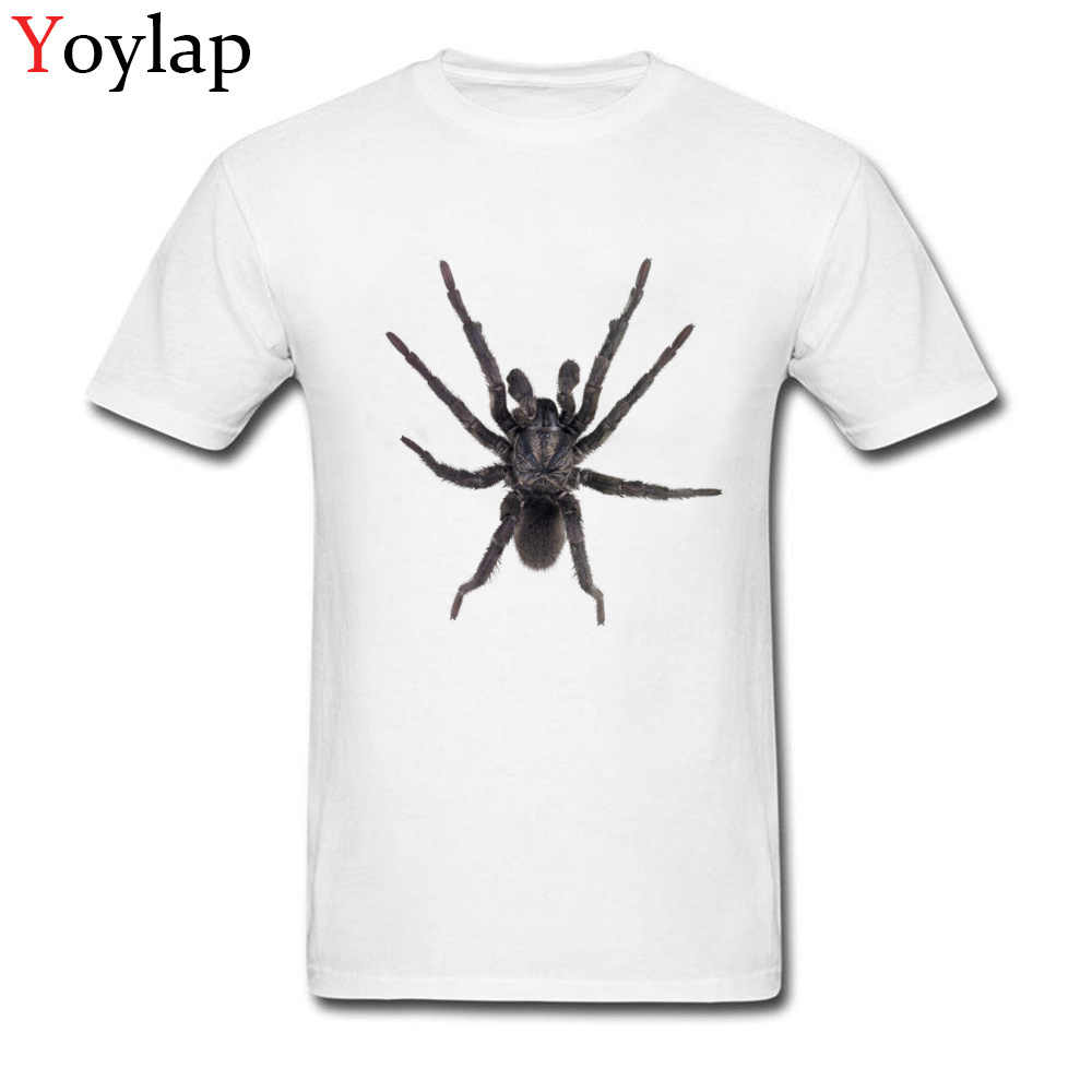Trendy Spider Silhouette Tattoo Top T Shirt For Men Cotton Short Sleeve Crew Neck Tee Shirts Simple Style