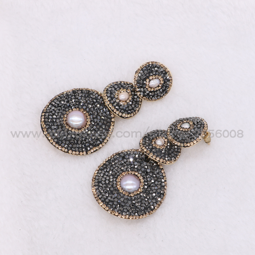 Wholesale 3 Round Earrings With Small Pearl Black Round Beads Blingbling  Dangle Earrings Drop Earrings Gems Stone Jewelry 1186