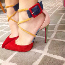 Pointy Toe Women Dress Shoes In Low Heel Pink Red Blue Designer Shoes Runway Sandal Pumps Buckle Women Ankle Strap 2018 Stiletto chic silvery pu t strap buckle style heels glittering crystal decorated pointy stiletto heel pumps gorgeous wedding glass shoes