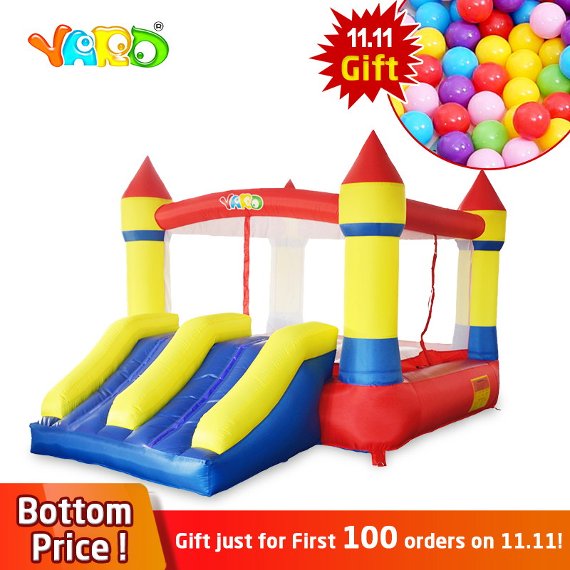 YARD Inflatable Bouncer Castle Double Slides with Blower Home Use Inflatable Bounce House Trampoline For KIds Fun Outdoors yard inflatable jumper bouncy castle nylon bounce house jumping house trampoline bouncer with free blower for kids