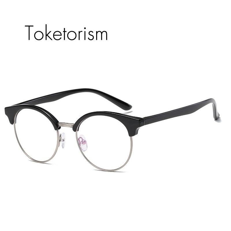 b3793ffbfcba Toketorism quality korean glasses oval half frame eyeglasses tr90 optical  glasses frame men women 1461