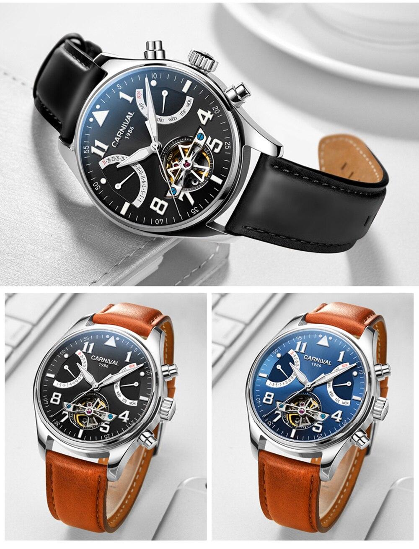 Carnival Tourbillon Mechanical Watch Men Switzerland Skeleton Pilot Wristwatch 25 Jewels Luxury Luminous Leather Silver Steel