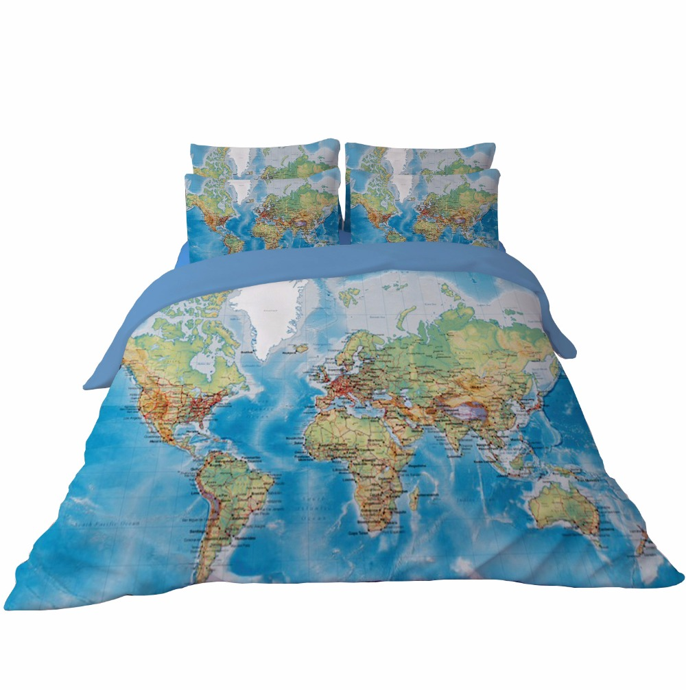 World map bedding set vivid printed blue duvet cover with pillowcase world map bedding set vivid printed blue duvet cover with pillowcase polyester home textiles twin queen king size 3pcs for kids in bedding sets from home gumiabroncs Image collections