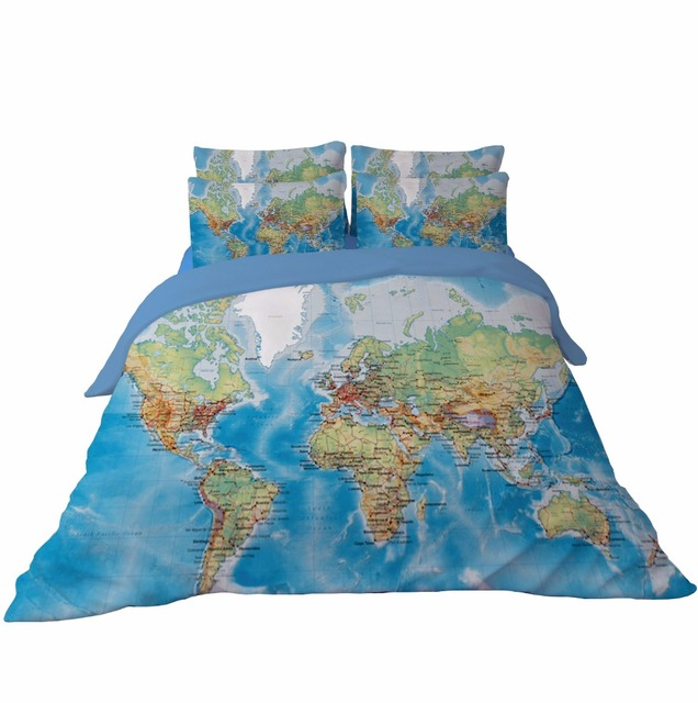 World map bedding set vivid printed blue duvet cover with pillowcase polyester home textiles twin queen king size 3pcs for kids in bedding sets from world map bedding set vivid printed blue duvet cover with pillowcase polyester home textiles twin queen gu Image collections