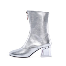 Genuine Leather Mid-calf Women Boots Crystal Heels Cow Leather Round Toe Footwear Female Boots Women Girls Winter Shoes Silver 2017 latest men s mid calf boots genuine leather zipper opening round toe riding equestrian chakku high boots itlian cow leather