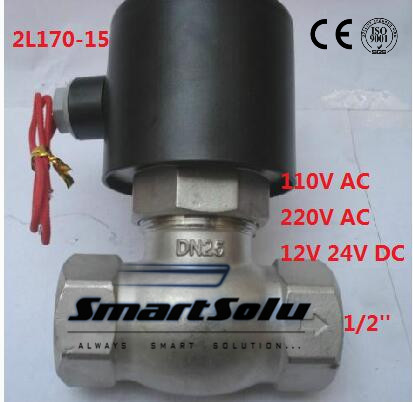 Free shipping 2L170-15 2Way NC Hi-Temp 1/2'' Stainless Steel Steam Solenoid Valve PTFE 110V AC 1 2bspt 2position 2way nc hi temp brass steam solenoid valve ptfe pilot