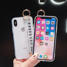 2019 New Anti-shock Non-slip Cases For iPhone XS Max XR XS X 6 6s 7 8 Plus Hot Wristband Transparent Soft TPU Phone Back Cover transparent anti slip silicone shock absorber soft cushion for closestool