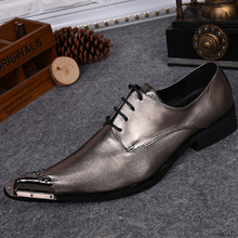 Christia Bella New High Quality Genuine Leather Men Oxfords Gold Lace-Up Brogues Business Wedding Dress Shoes Formal Men's Flat