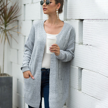 Autumn and Winter Tops Women's Sweater Cardigan Long Knit Casual Pocket Cardigan for Women Solid Color Long Sleeves недорго, оригинальная цена