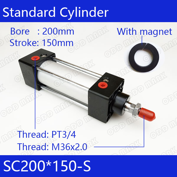 SC200*150-S 200mm Bore 150mm Stroke SC200X150-S SC Series Single Rod Standard Pneumatic Air Cylinder SC200-150-S su63 100 s airtac air cylinder pneumatic component air tools su series
