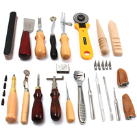24Pcs Leather Craft Tools Kit Hand Sewing Stitching Punch Carving Work Saddle Freeshipping DIY Leather Craft Tool Set