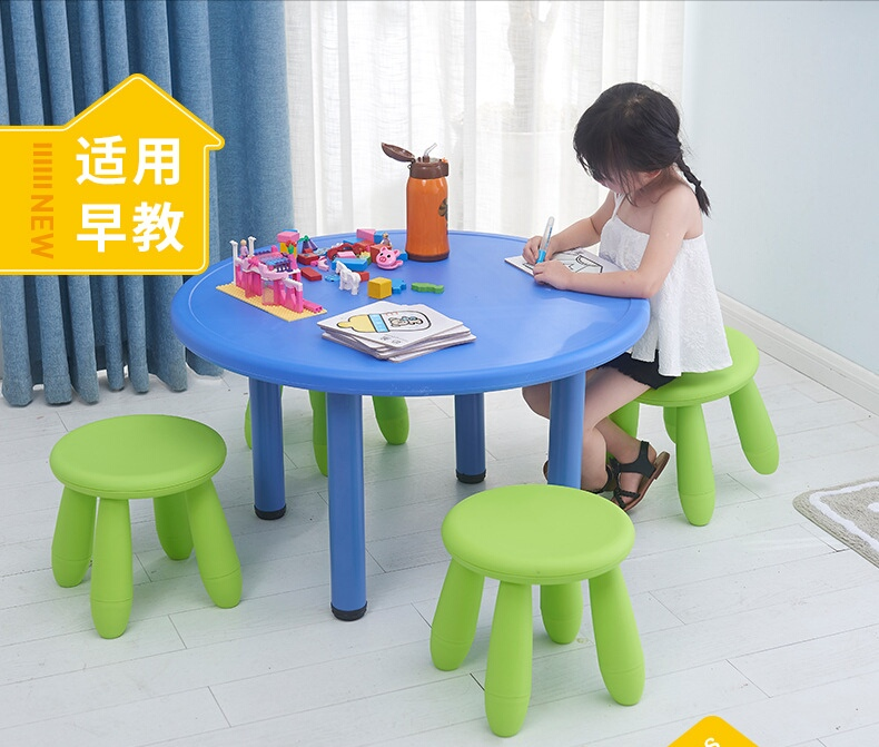 Kids Table Chair Set 2 in 1 Plastic Kids Table and Chair Set Safe and Durable Learning Kit Children Studying Desk Chair for Home Kindergarten Blue Green