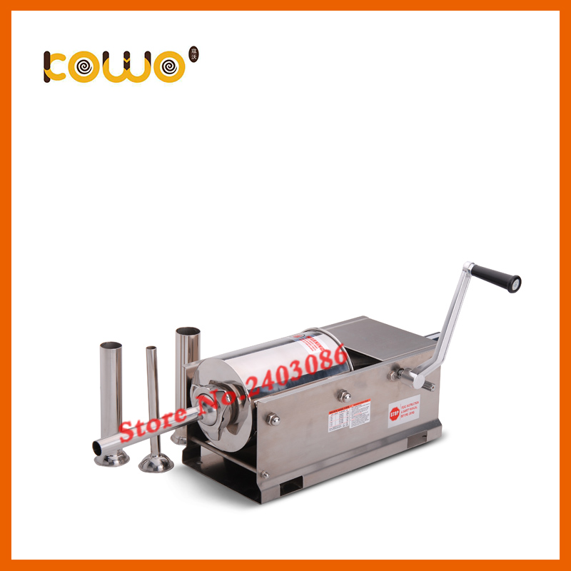 Professional stainless steel horizontal 3L capacity manual sausage stuffer machine sausage maker meat sausage filler for sales