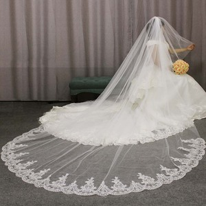 Image 1 - High Quality Lace Appliques Long 2 T Wedding Veil Cover Face 3 Meters Cathedral Bridal Veil with Comb Blusher Voile Mariage