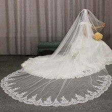 Hoge Kwaliteit Kant Applicaties Lange 2 T Wedding Veil Cover Gezicht 3 Meter Kathedraal Bridal Veil Met Kam Blusher Voile mariage
