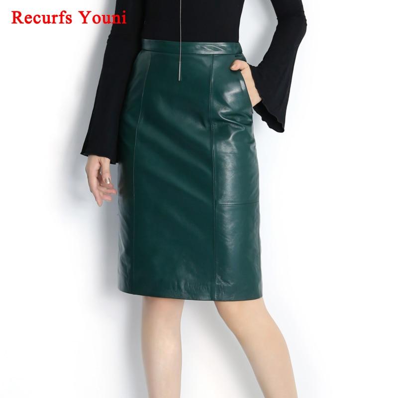 dbfc5638c RYS8345 Winter NEW OL Genuine Leather Midi Long Wrap Skirt Ladies Elegant  Simple Dark Green/