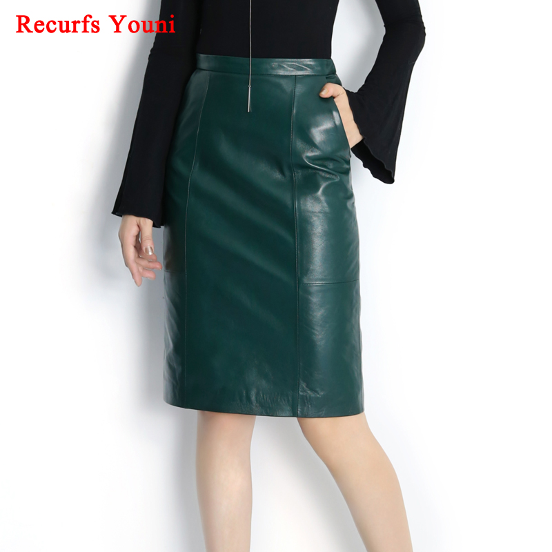 RYS8345 invierno nuevo cuero genuino OL Midi Long Wrap falda señoras  elegante Simple verde oscuro Negro rosa  azul Sexy Jupe Mujer Saia en Faldas  de La ropa ... 26654416efd8