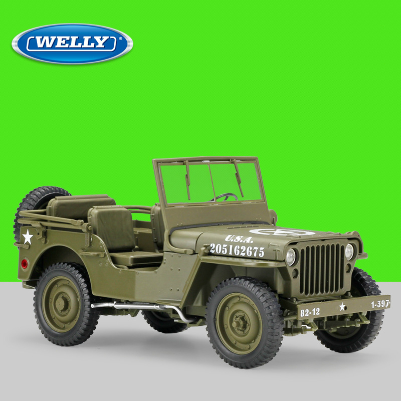 WELLY 1:18 Jeep 1941 Willys MB Diecast Model Car Toy Car maisto diecast car 1 18 scale jeep wrangler willys model car off road vehicle with openable doors toy for children gift page 5