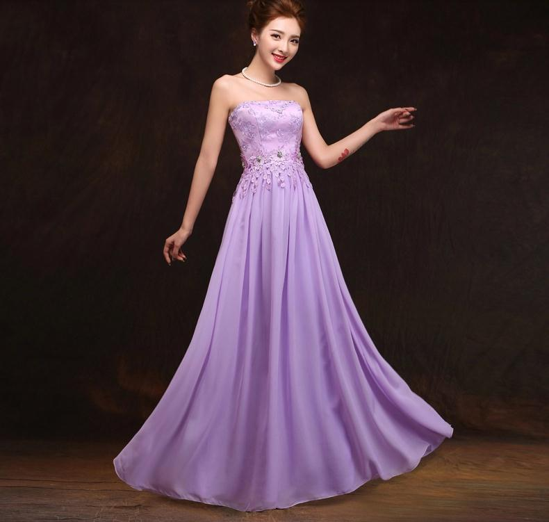 Us 29 99 Brand Top Bridesmaid Long Bandage Purple Champagne Lace Elegant Formal Dresses Lady Miss Nice Short Wedding Party Maxi Dress In Bridesmaid