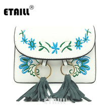 ETAILL Vintage Flower Embroidered Pu Leather Bag with Tassel Women Famous Brands Designer Messenger Bag Crossbody Bag Bolsos Sac