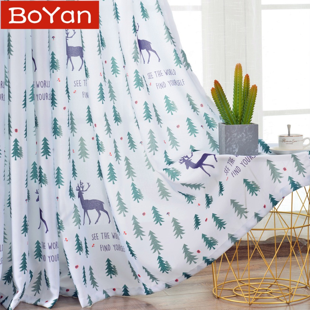 Party Christmas Curtains For Living Room Green Tree Rudolph Window Eyelets Curtain For Children Bedroom Kitchen Reindeer Drapes
