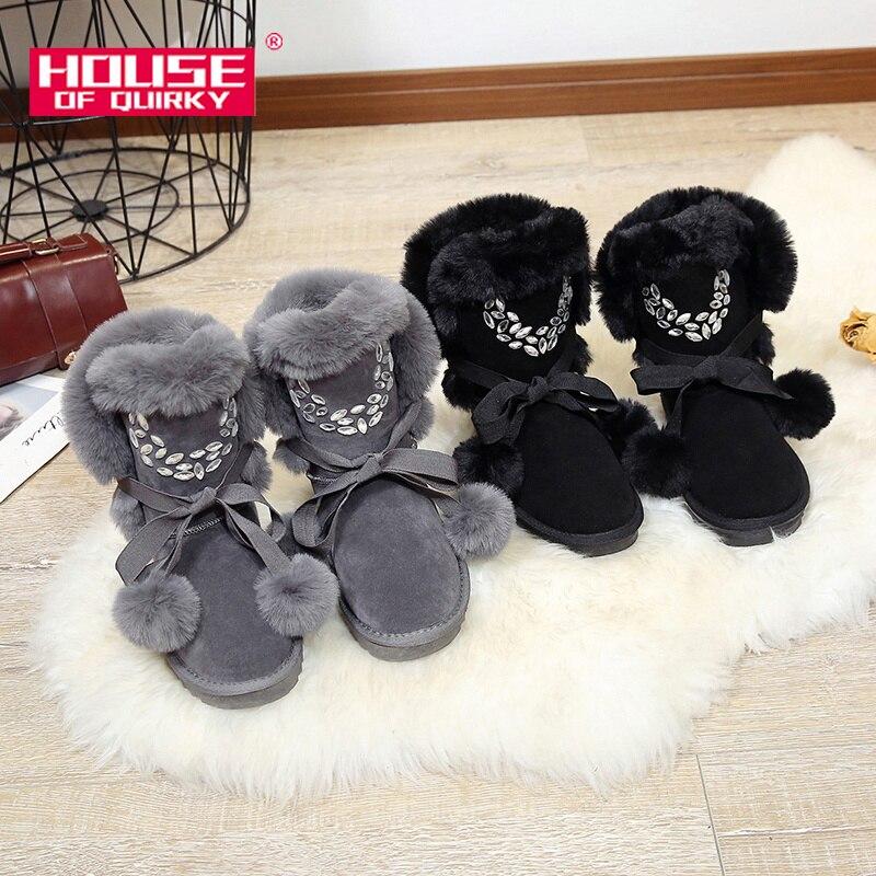 De gris D'hiver Faux En Strass Sapato Chaud Noir Neige Fourrure Femmes Chaussures Bottes Suède Peluche Ajouter ZvvSdXq