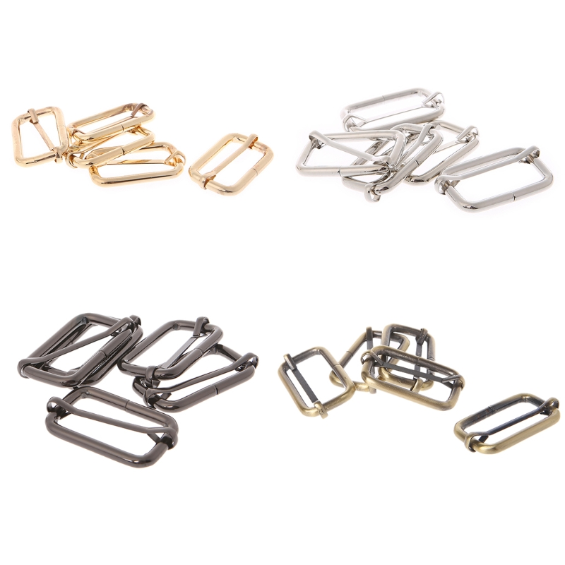 New 5pcs 38/32/25/20/50mm Strap Buckle Metal Tri-glides Wire-formed Roller Pin Buckles Strap Slider Adjuster Bag Accessories Luggage & Bags