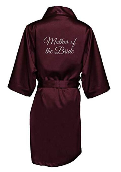 Glitter Print Mother Of The Bride Satin Short Sleeves Faux Silk Ladies Bathrobe