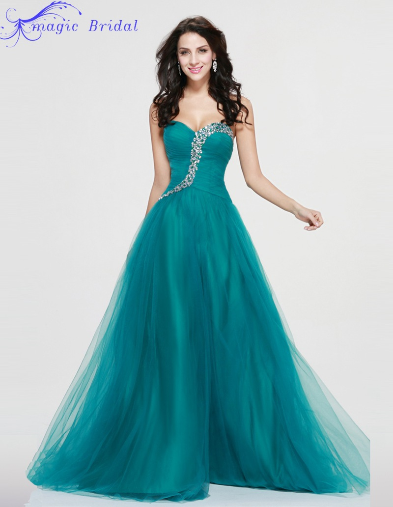 Vestido Formatura Longo Long Elegant Sweetheart Crystals Tulle ...