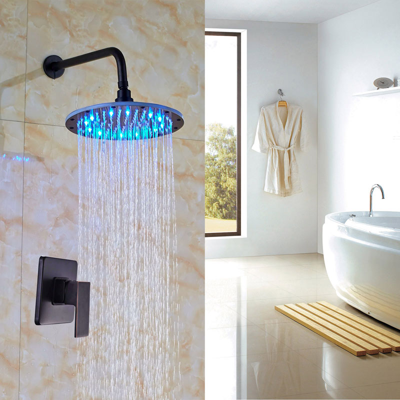 Newly LED Colors Bath Shower Faucet Oil Rubbed Bronze Shower Set Wall Mounted One Way Mixer