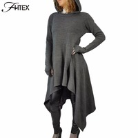 Brief Asymmetrical Casual Dress Women Solid Color Long Sleeve Autumn Winter Hooded Dress Slim Midi Dress