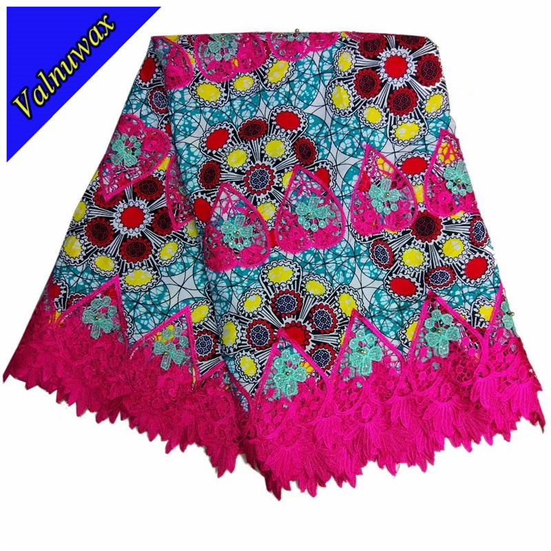 New Design african fashion wax Hollandais wax lace fabric latest African colorful wax lace fabric with Stone 6yards/QDLK2415#New Design african fashion wax Hollandais wax lace fabric latest African colorful wax lace fabric with Stone 6yards/QDLK2415#