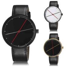 1 pc normal minimalista Personalidade relógio relógio das mulheres dos homens unisex casuais relógios de Pulso de Quartzo PU pulseira de couro forma redonda H4