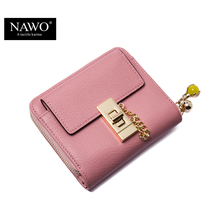все цены на NAWO New Fashion Cow Real Genuine Leather Women Wallets Pink Luxury Brand Womens Small Wallet Ladies Short Coin Purse Gift онлайн